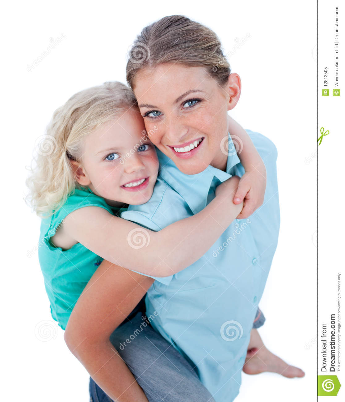 Blond Mother Giving Her Daughter Piggyback Ride Royalty
