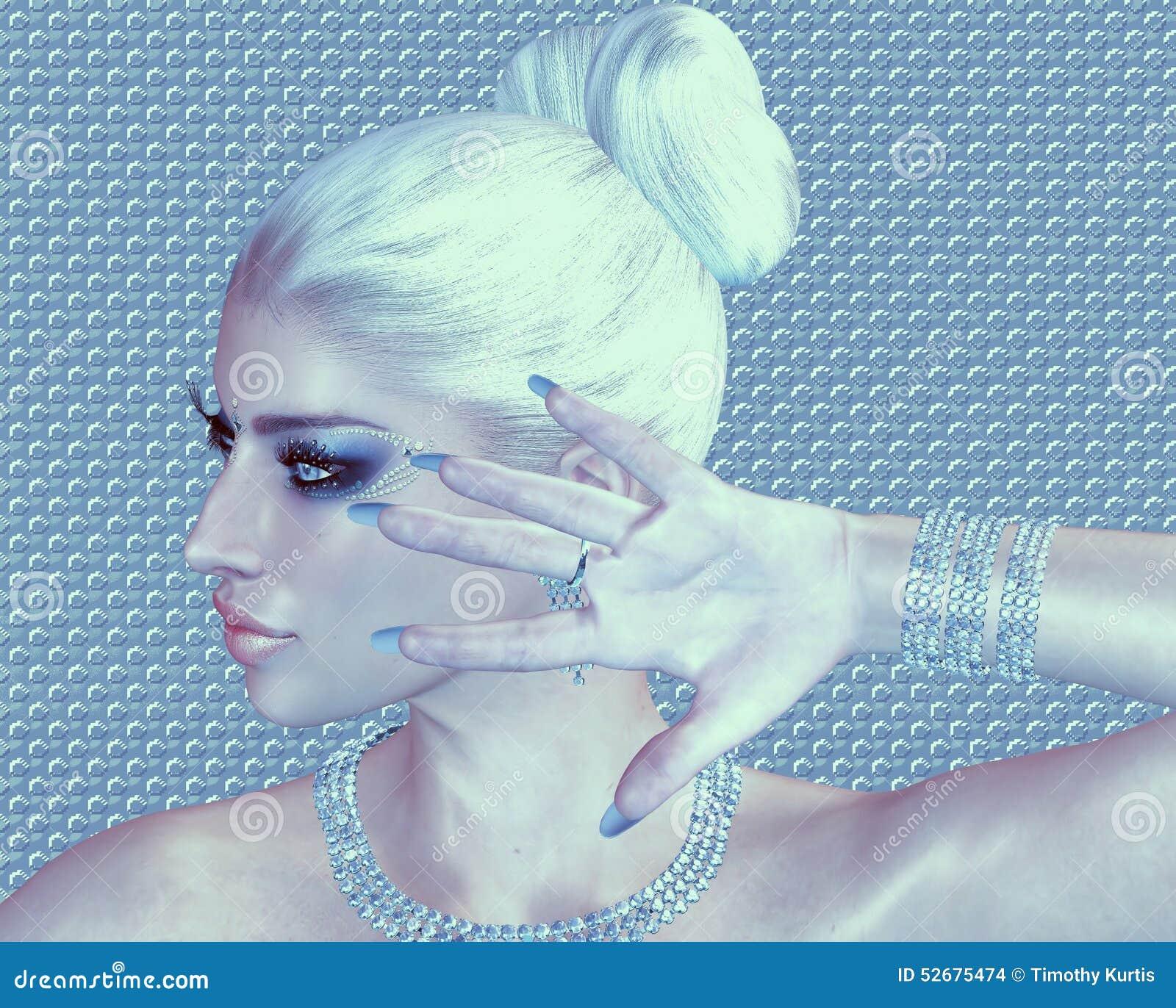 Blond skönhet mot en abstrakt bakgrund för diamant och för silver
