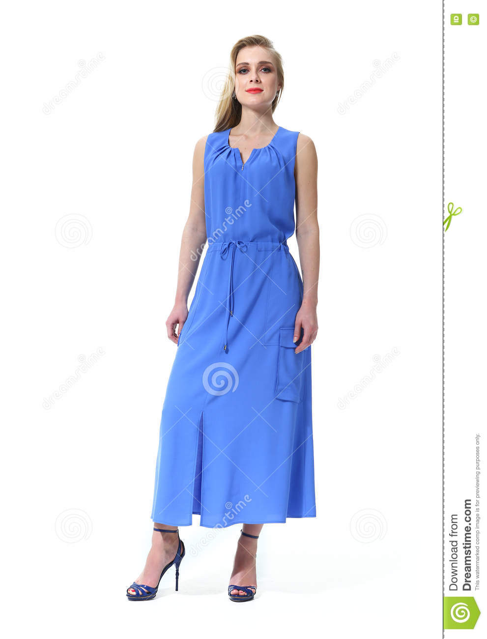 75d354ceed68eb Blond woman with straight hair style in summer long bluse sleeveless dress  high heel shoes going full body length isolated on white