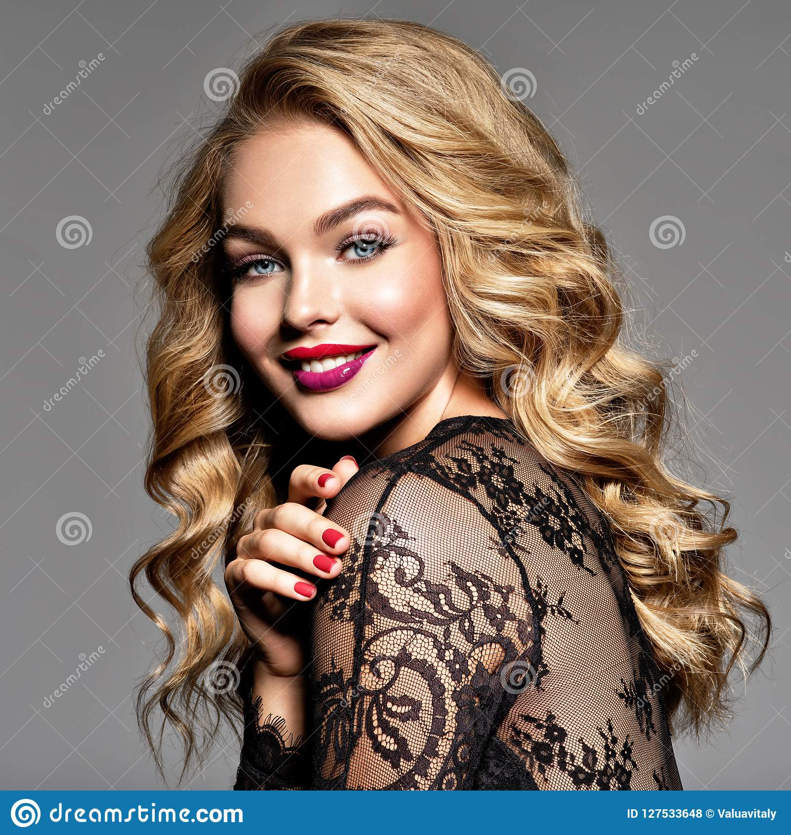 Happy girl. Cheerful young caucasian woman.
