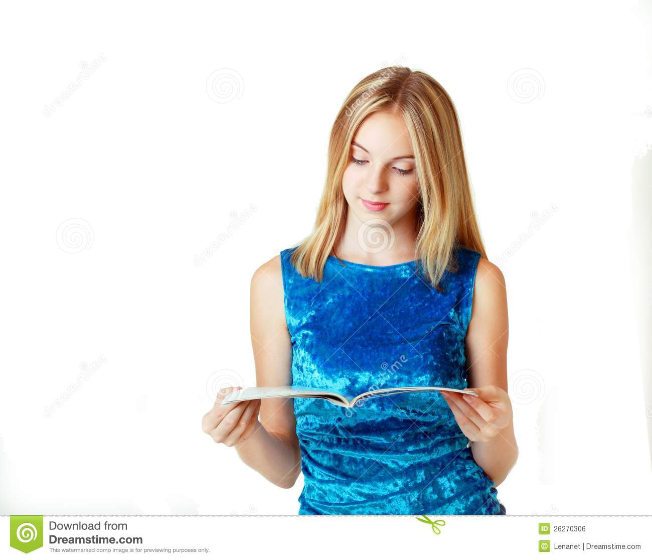 Blond Teenage Girl Reading Fashion Magazine Stock Photo - Image of
