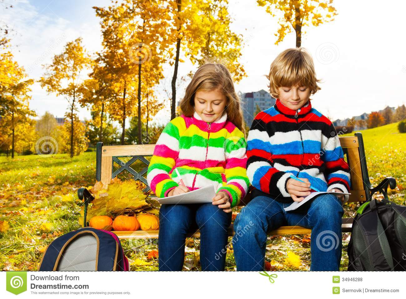 Blond Twins Afterschool In The Park Royalty Free Stock Photos Image 34946288
