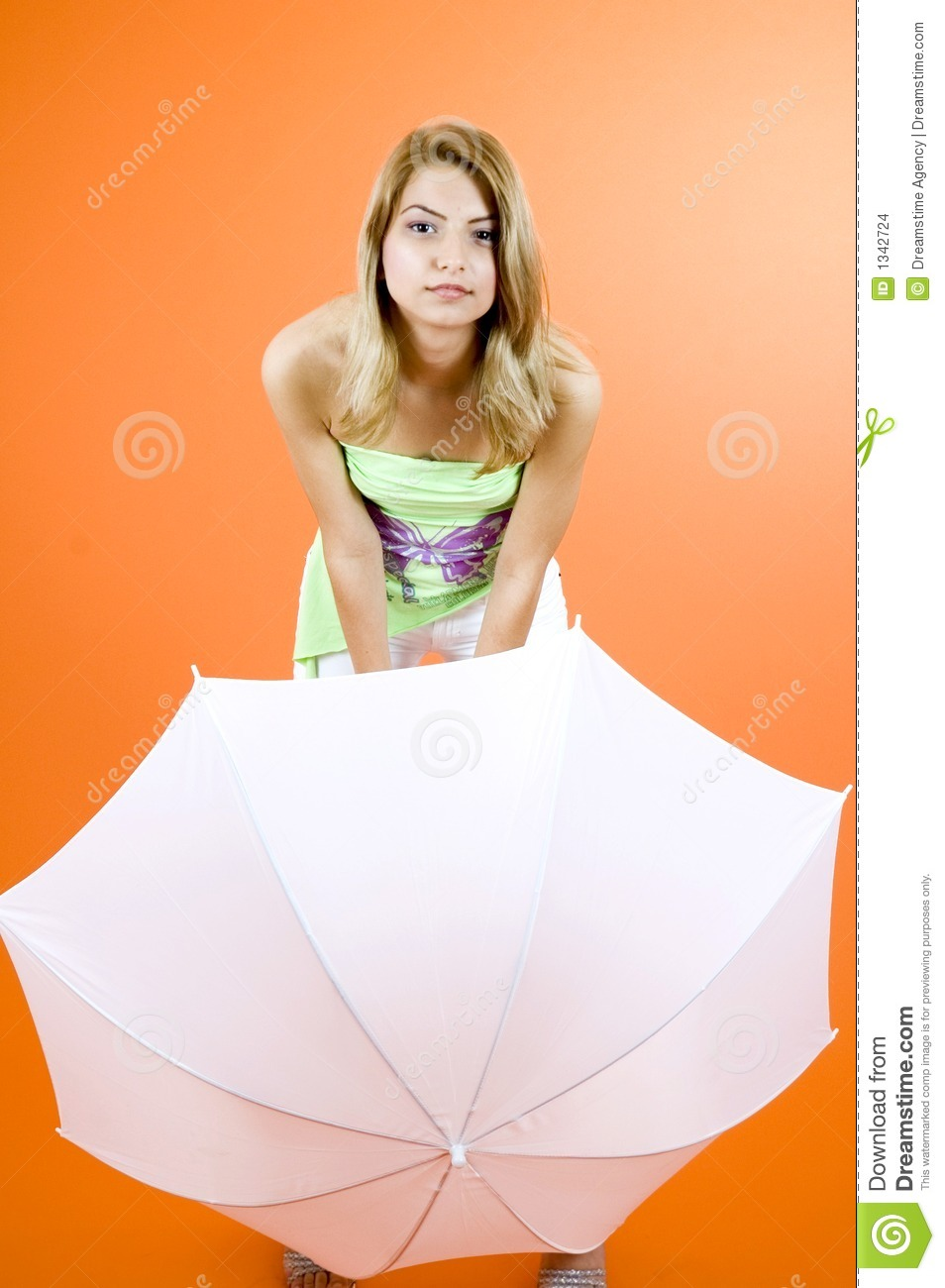 Blond with umbrella
