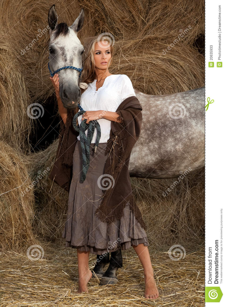 Blond Woman With Horse Stock Photos Image 20635933