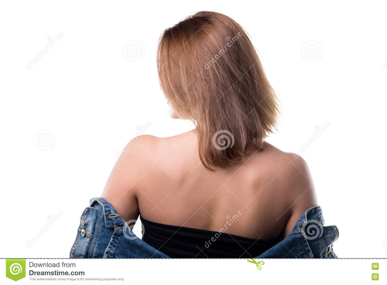Beautiful Blond Woman With Naked Shoulders Stock Photo