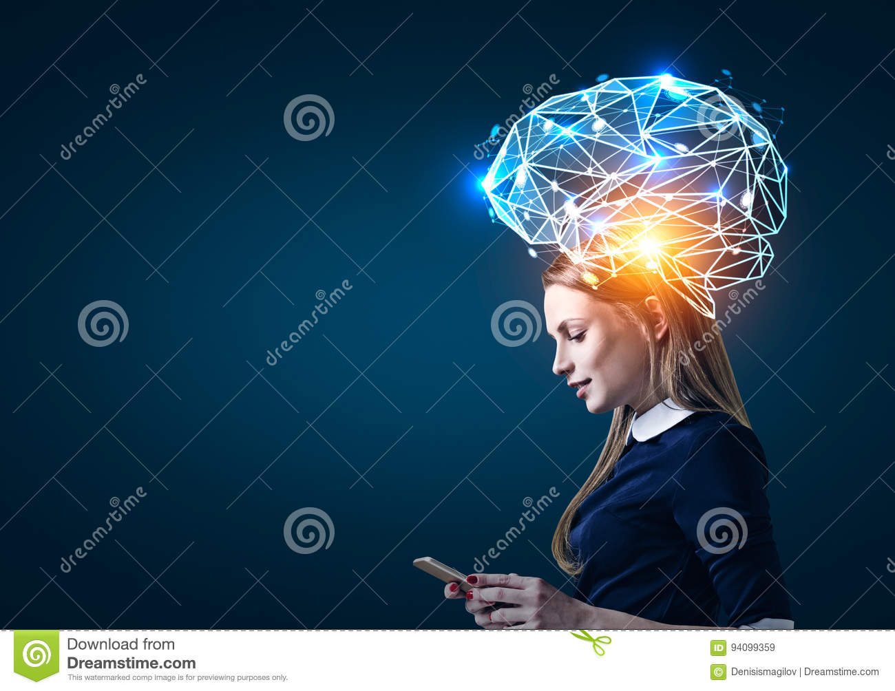 Blond Woman With Phone And Brain Hologram Stock Image