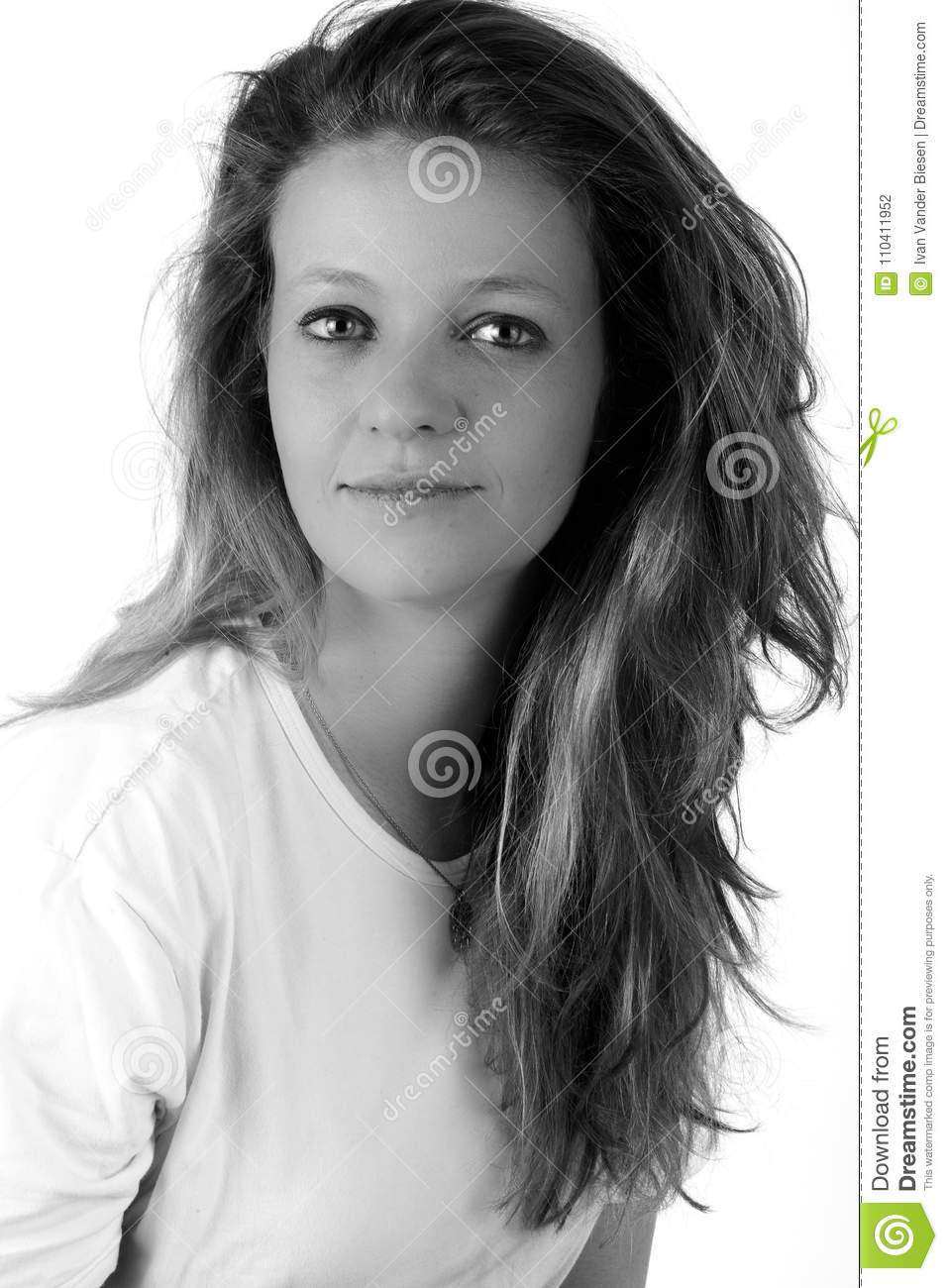 Blond woman portrait wearing a white shirt in high key in black and white on a white background