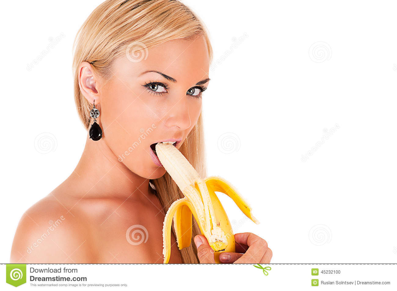 Pity, that sexy blonde eating banana