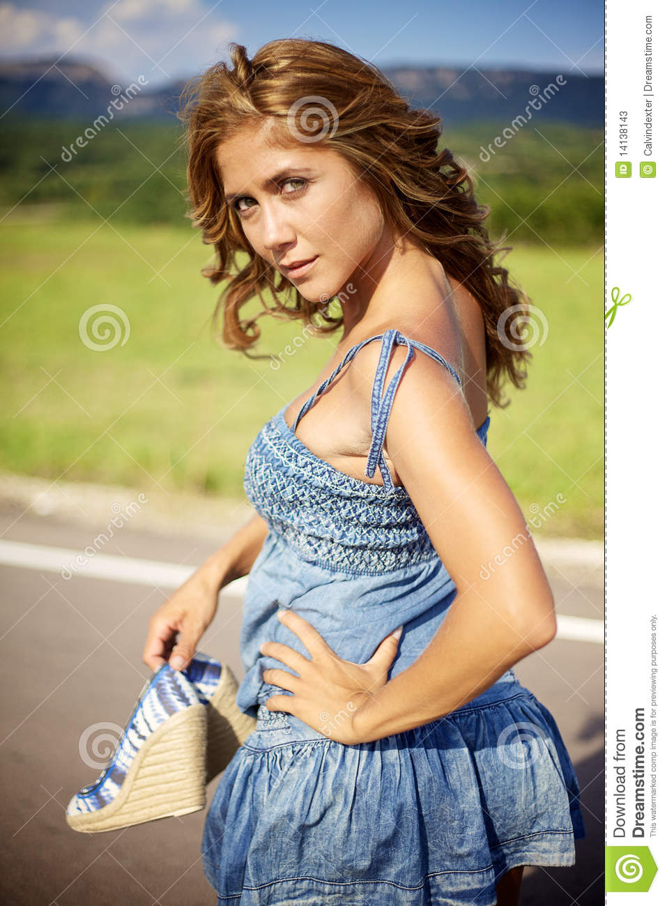 Blond woman on summer day