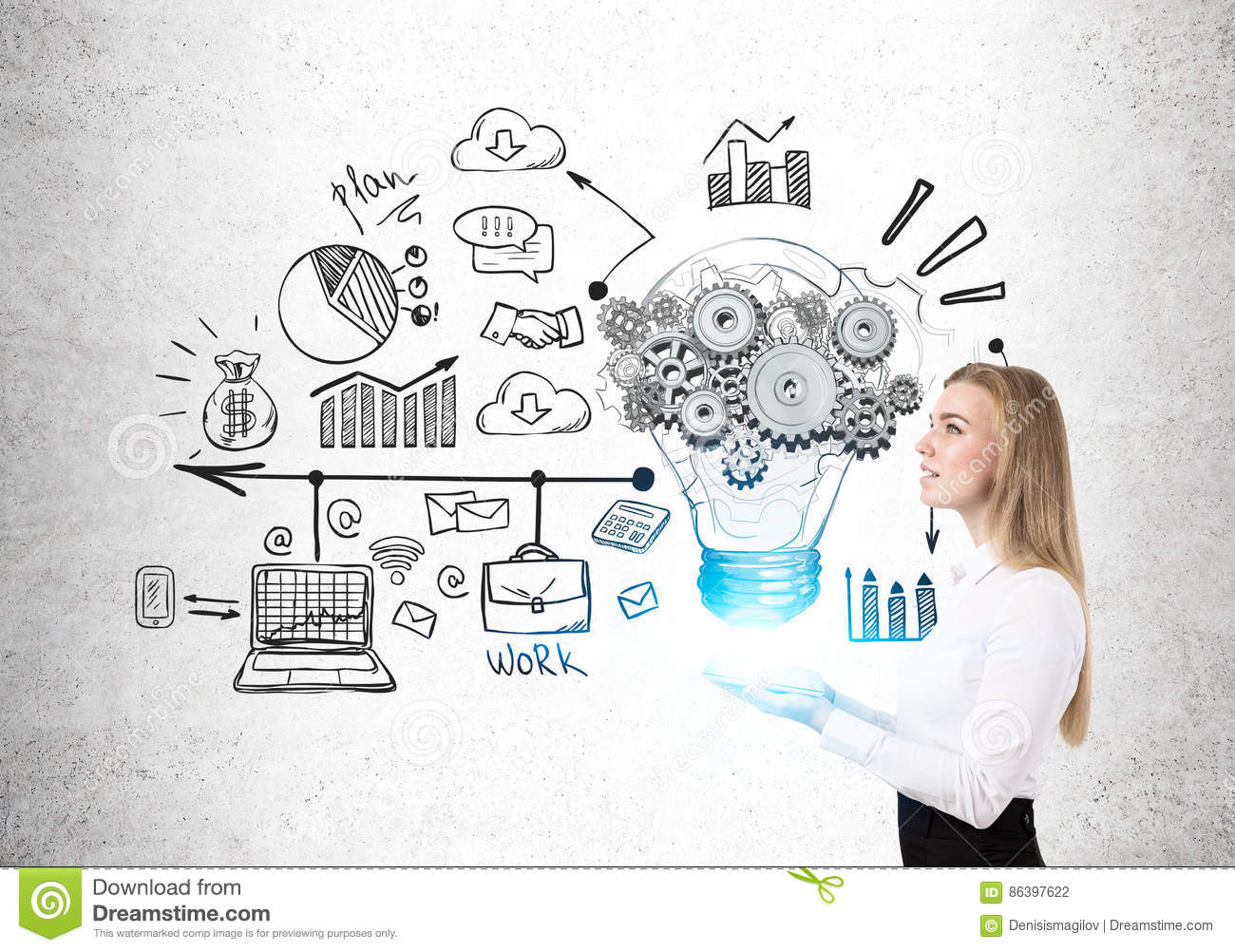 Blond woman with tablet and bulb, cogs