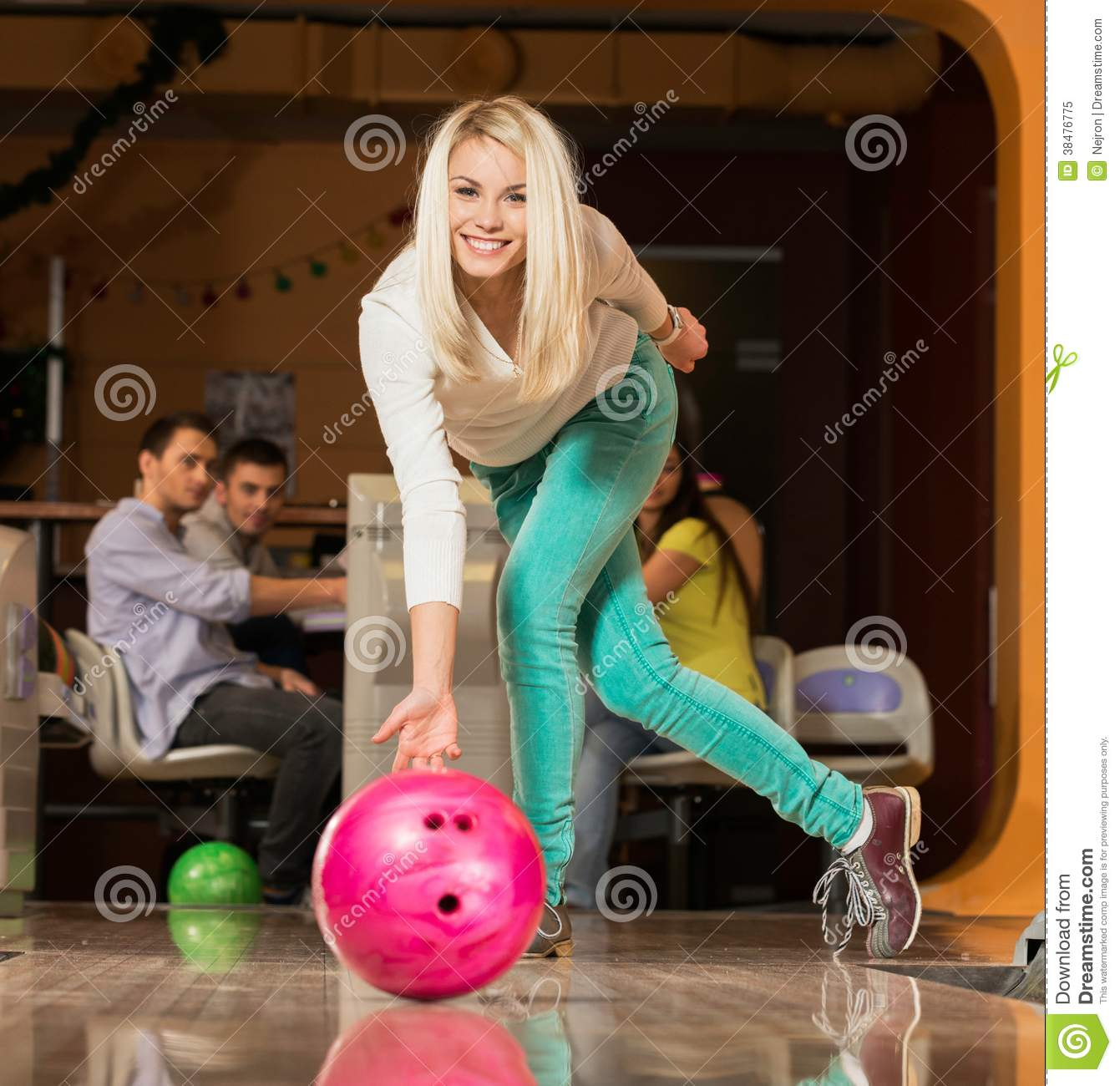 Busty girl bowling balls business your