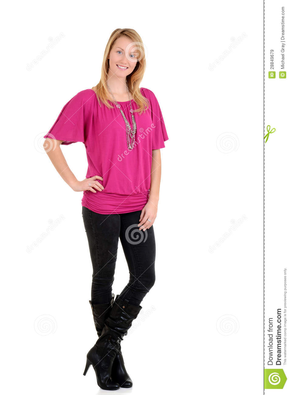 Blond Woman Wearing High Heel Boots Royalty Free Stock
