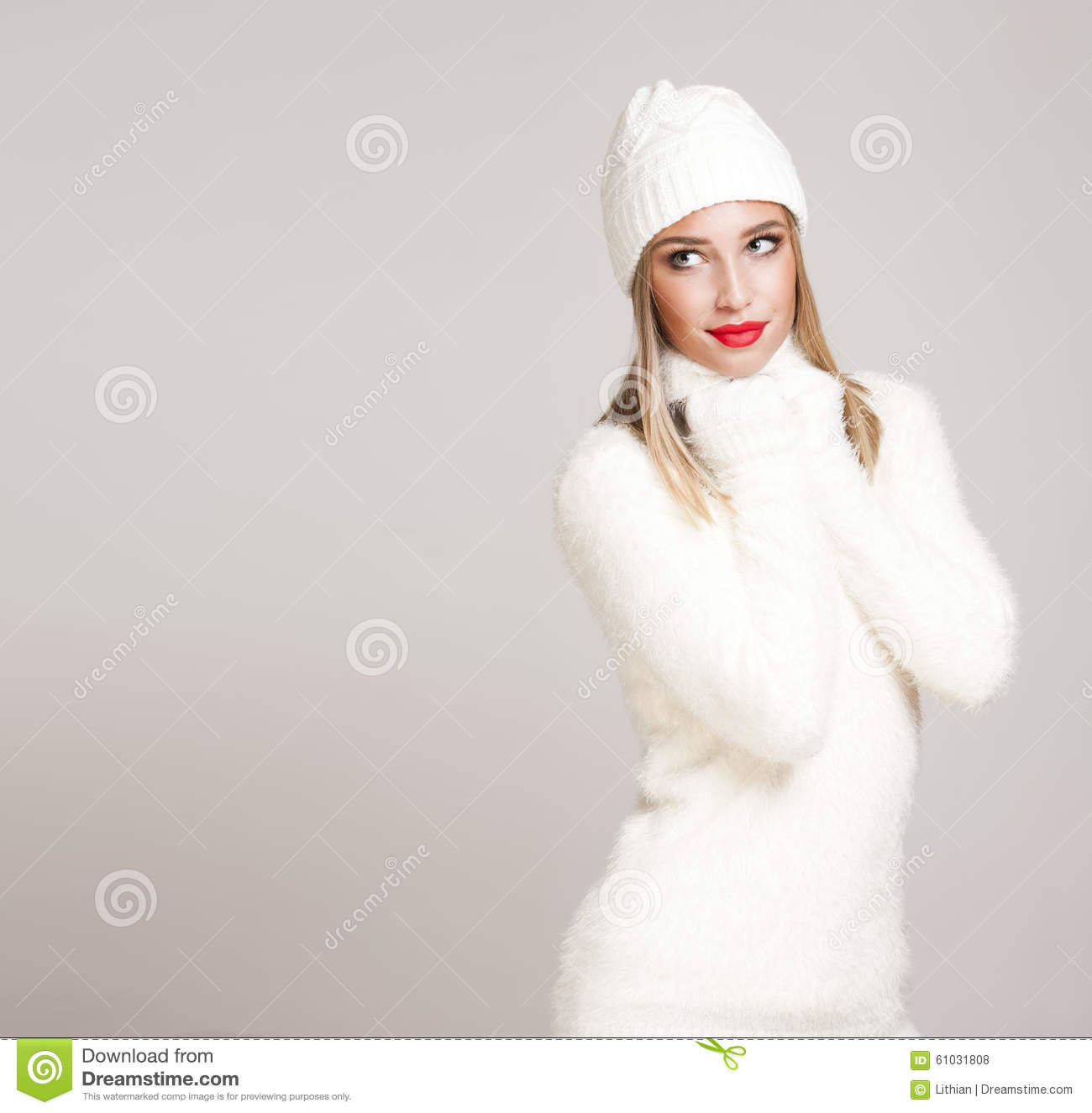 00ad87e9f Blond Woman In Winter Fashion. Stock Photo - Image of thoughtful ...