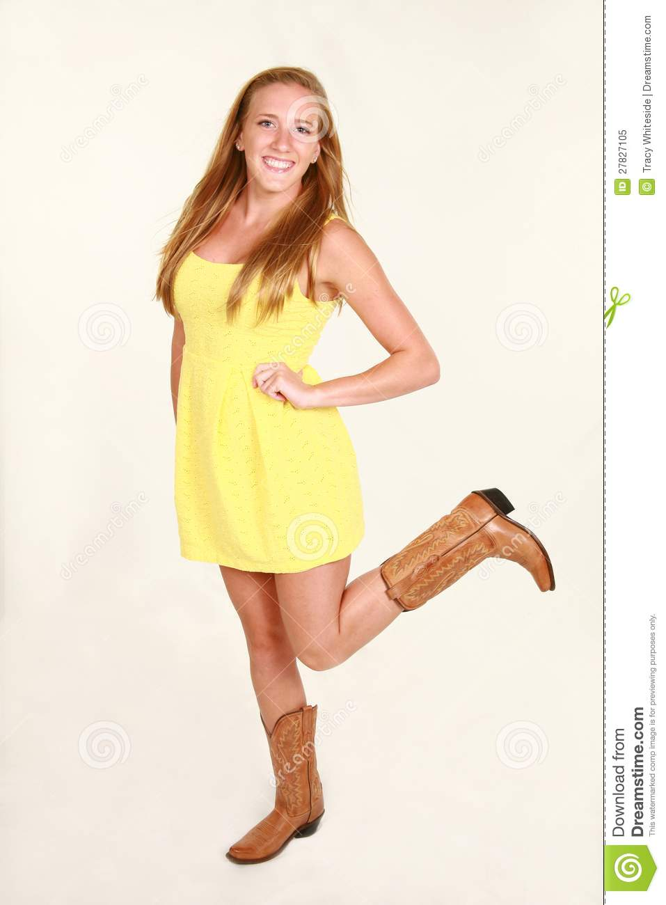 similar stock images of   Blond in yellow dress and cowboy boots