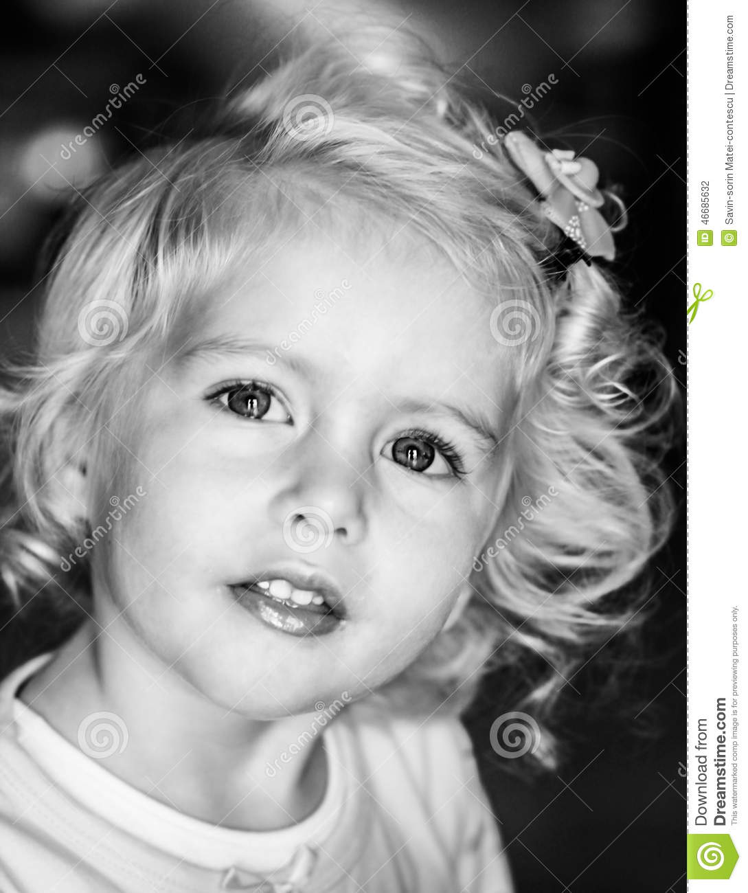 Blonde Baby Girl Black And White Stock Photo - Image Of -5612