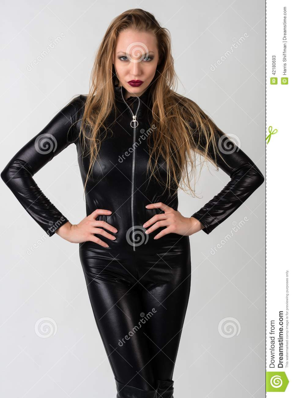 Ready help Blonde latex catsuit information