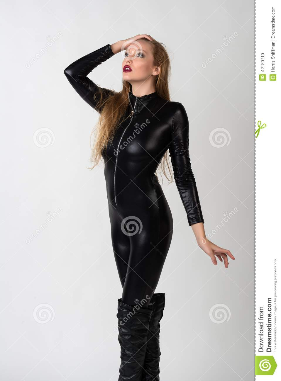 For Blonde latex catsuit seems me