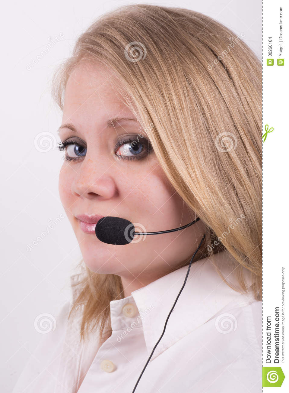 Professional Female Operator Looking At The Camera Stock ...