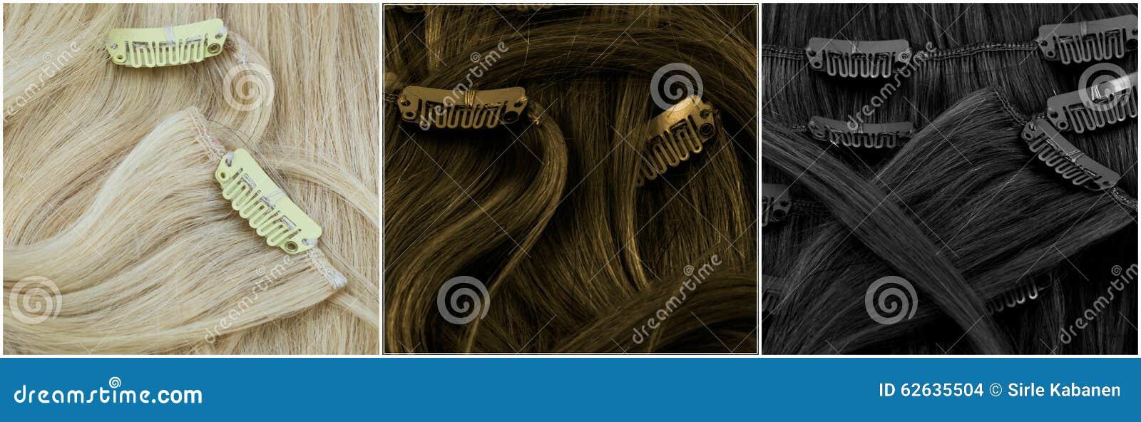 Blonde, bruin en zwarte klem-in uitbreidingen