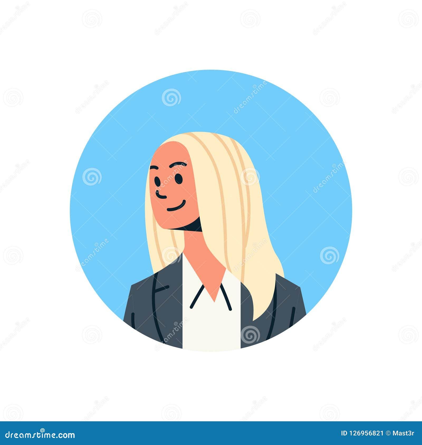 Blonde Businesswoman Avatar Woman Face Profile Icon Concept Online
