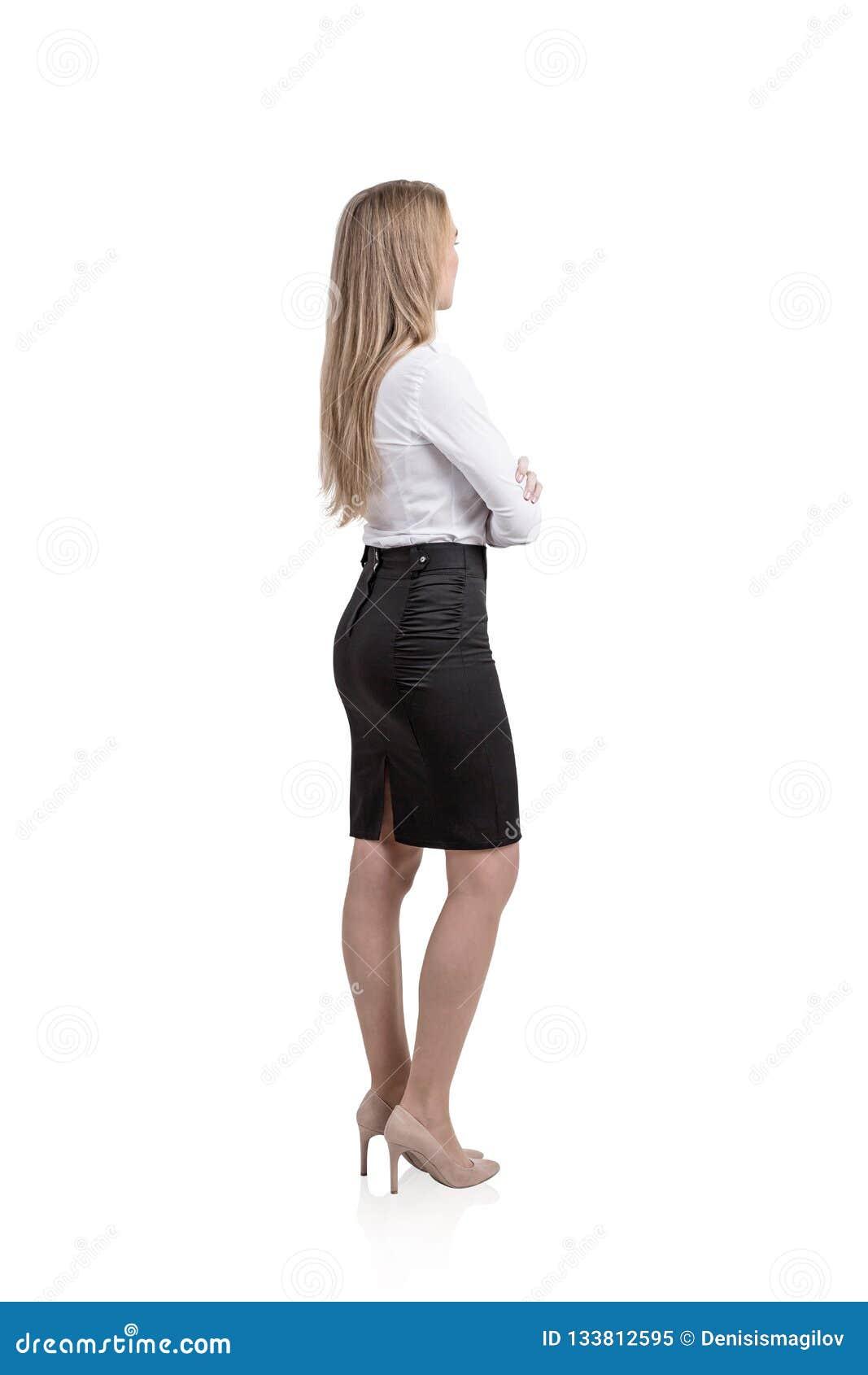 Blonde businesswoman isolated portrait