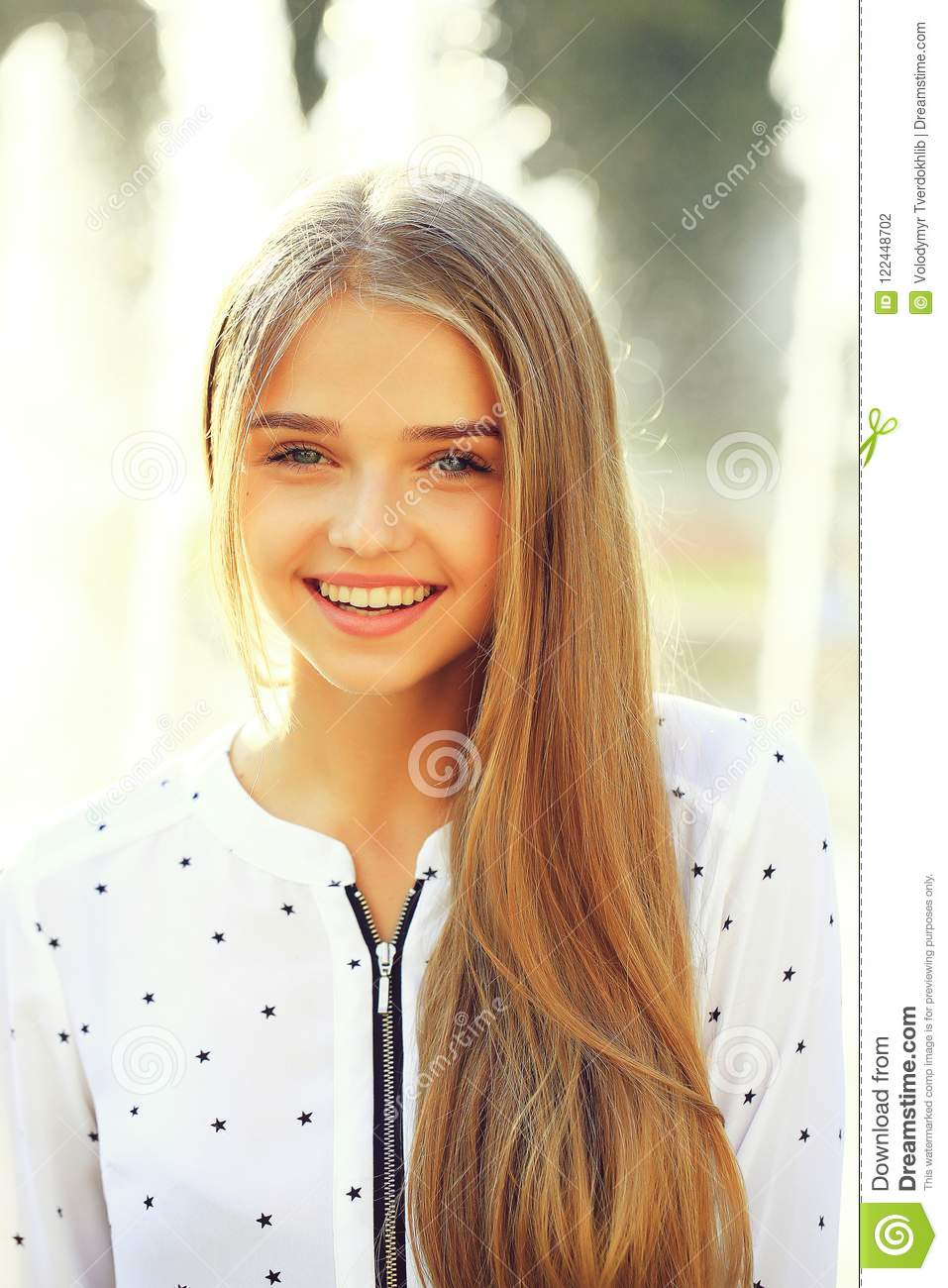 Blonde Cute Girl On Sunny Day Stock Photo Image Of White Cute 122448702