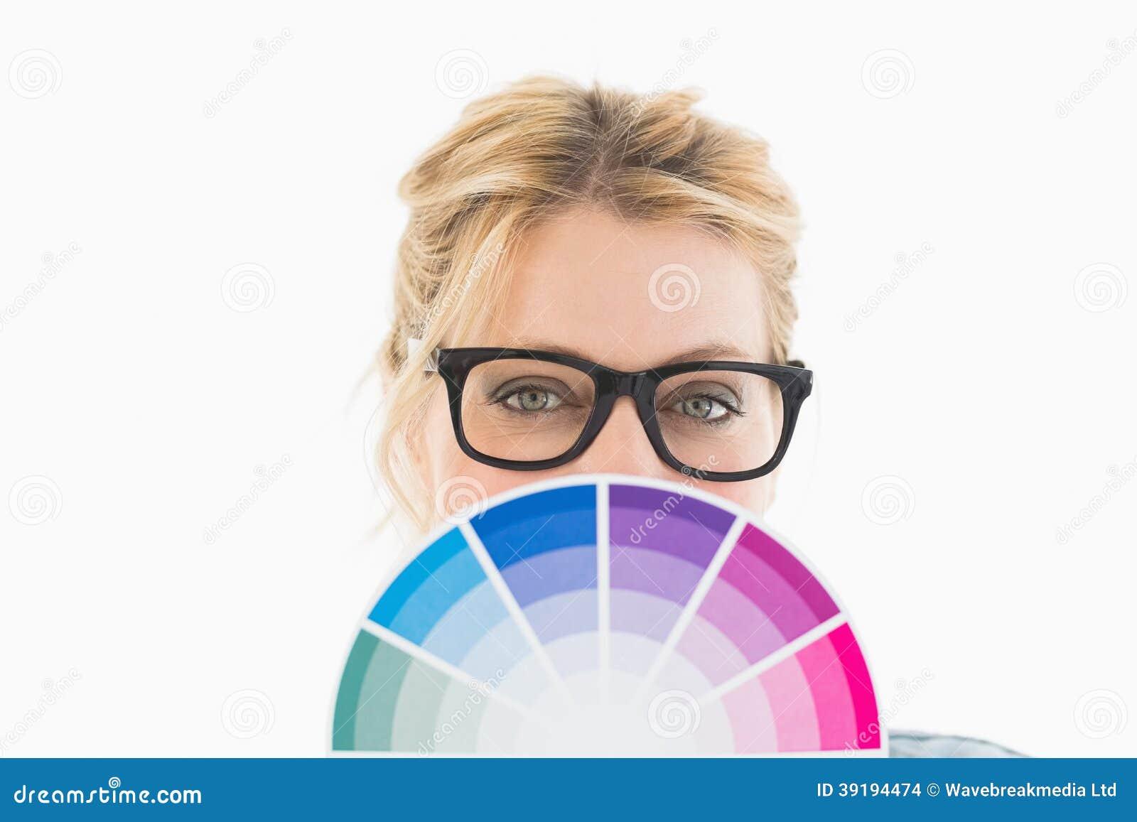 Blonde Designer Holding Colour Wheel Stock Photo Image Of