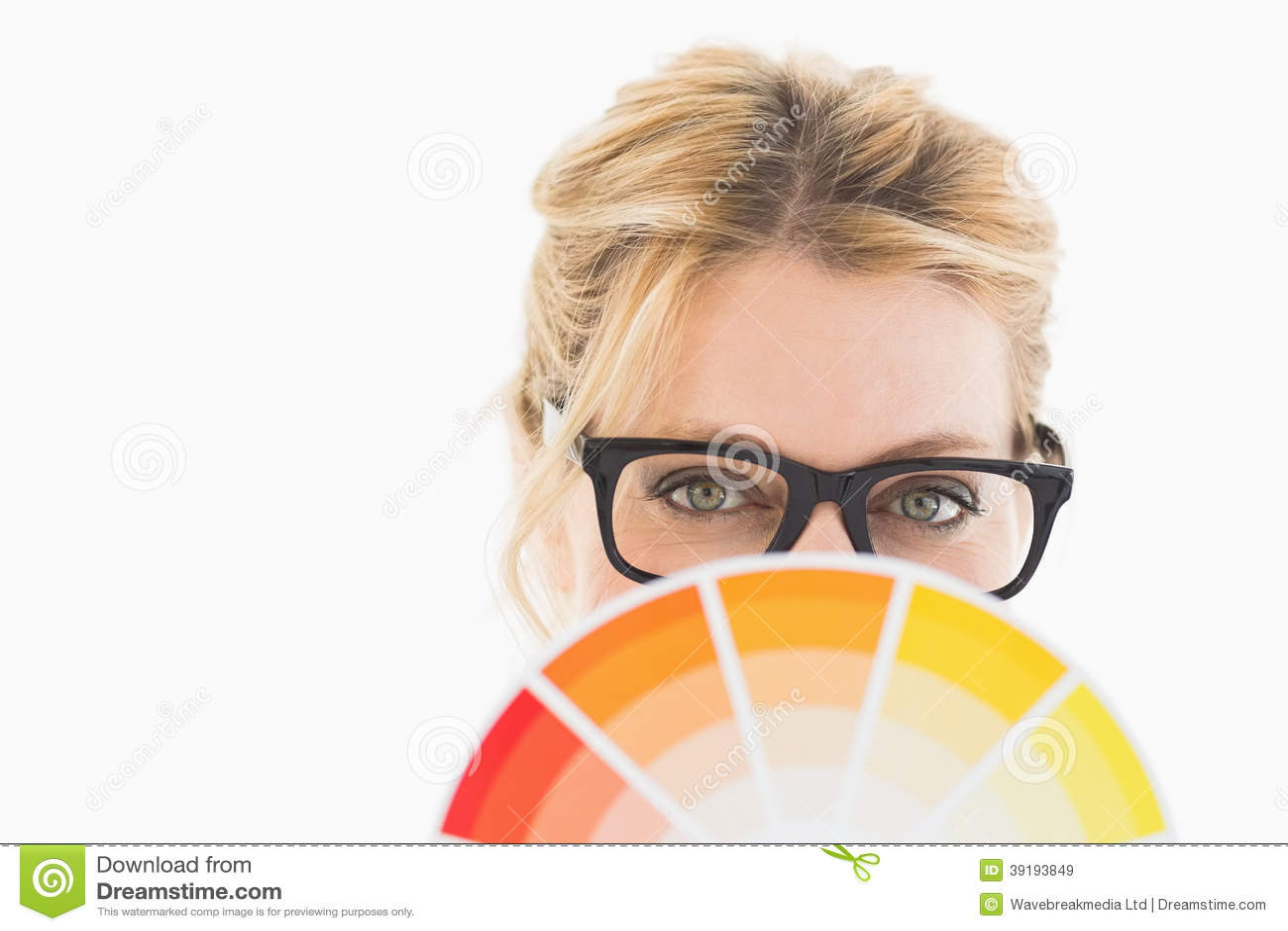 Blonde Designer Wearing Glasses Holding Colour Wheel Stock Image