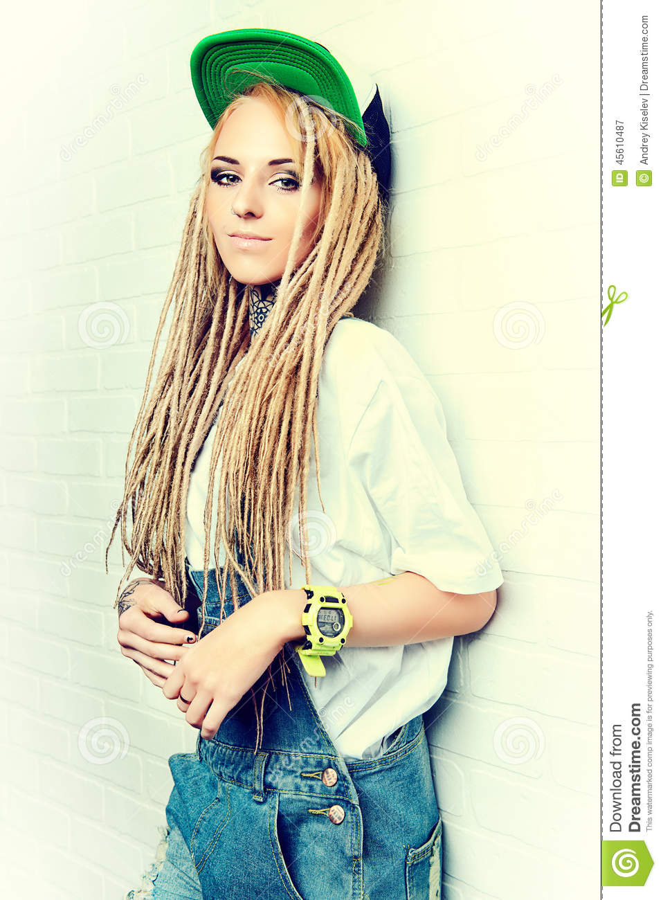 blonde dreadlocks stock image image of eyelashes female