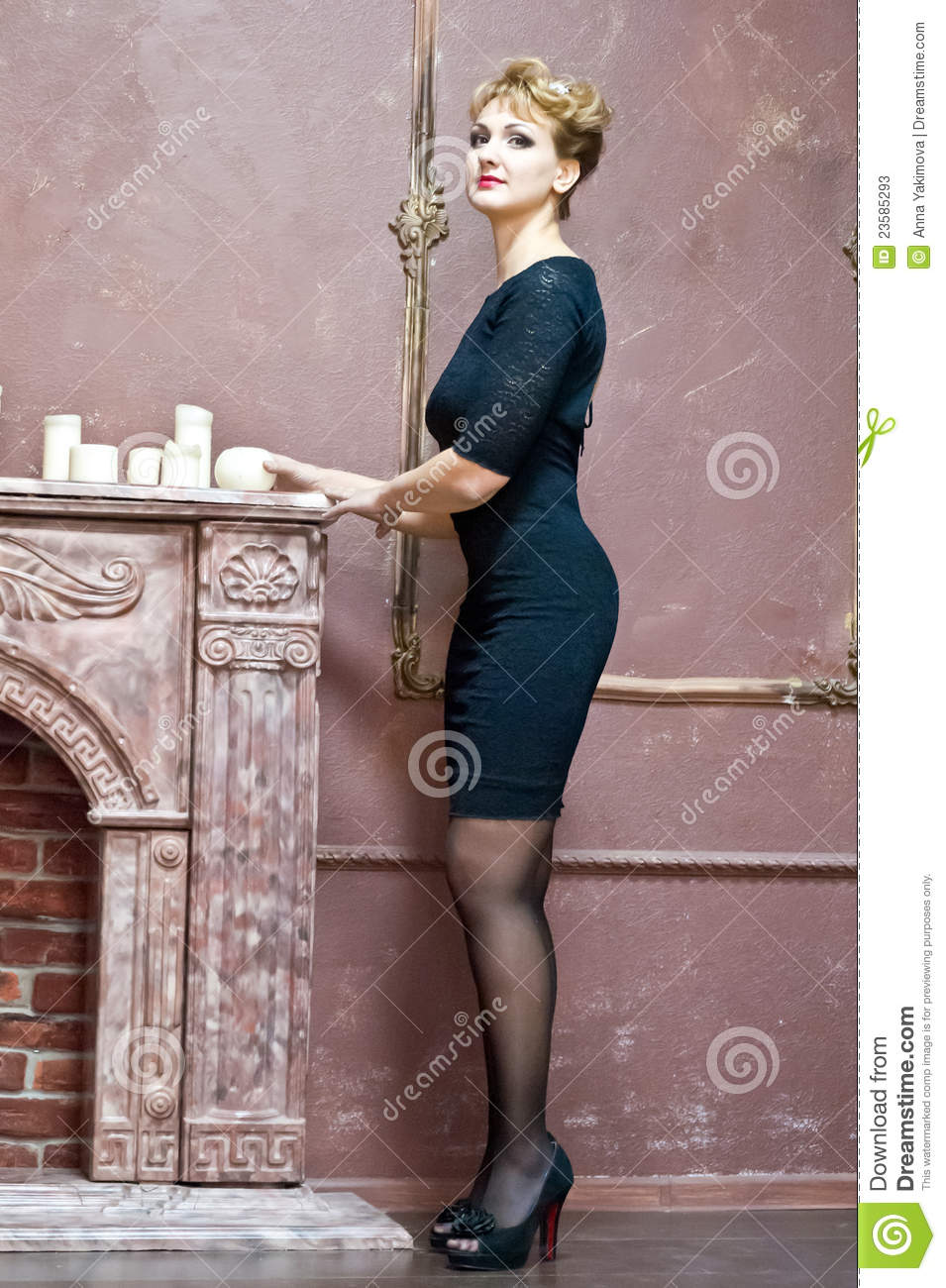 Blonde In An Elegant Black Dress Stock Photos Image