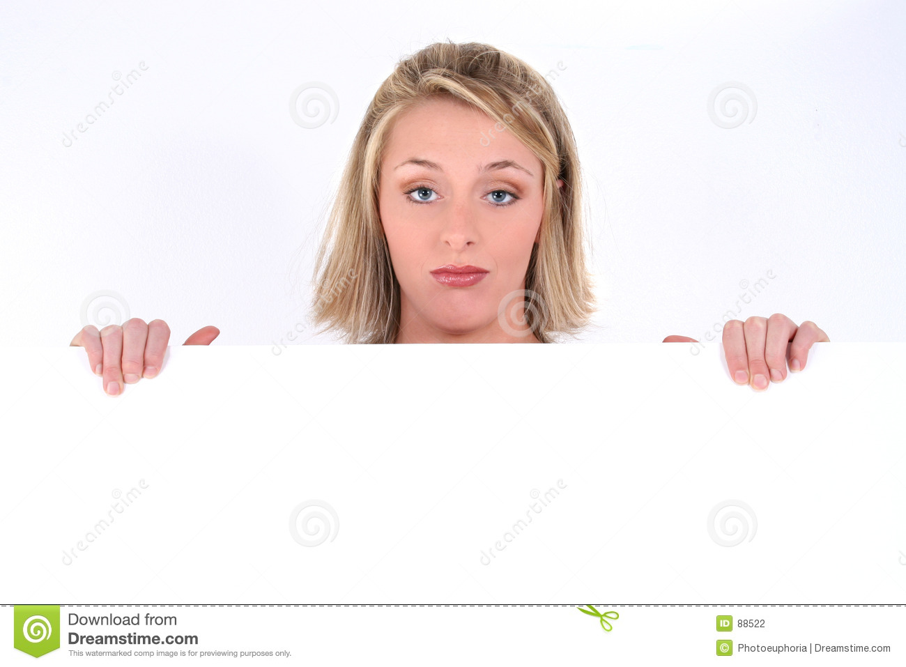 Blonde expression holding sad sign woman
