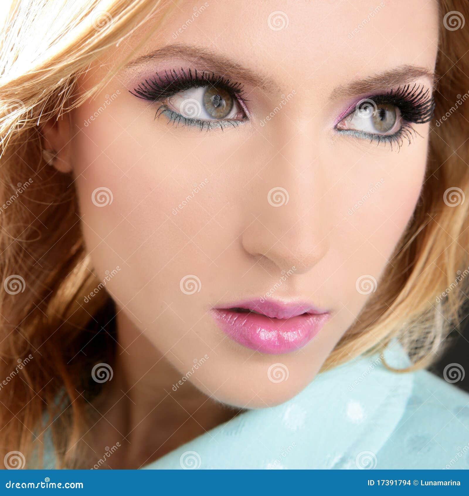 Blonde Face Makeup Macro Detail Pink Lipstick Stock Photo
