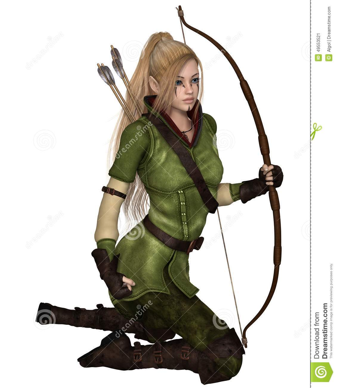 Fantasy illustration of a blonde female elf archer with bow and arrows ...