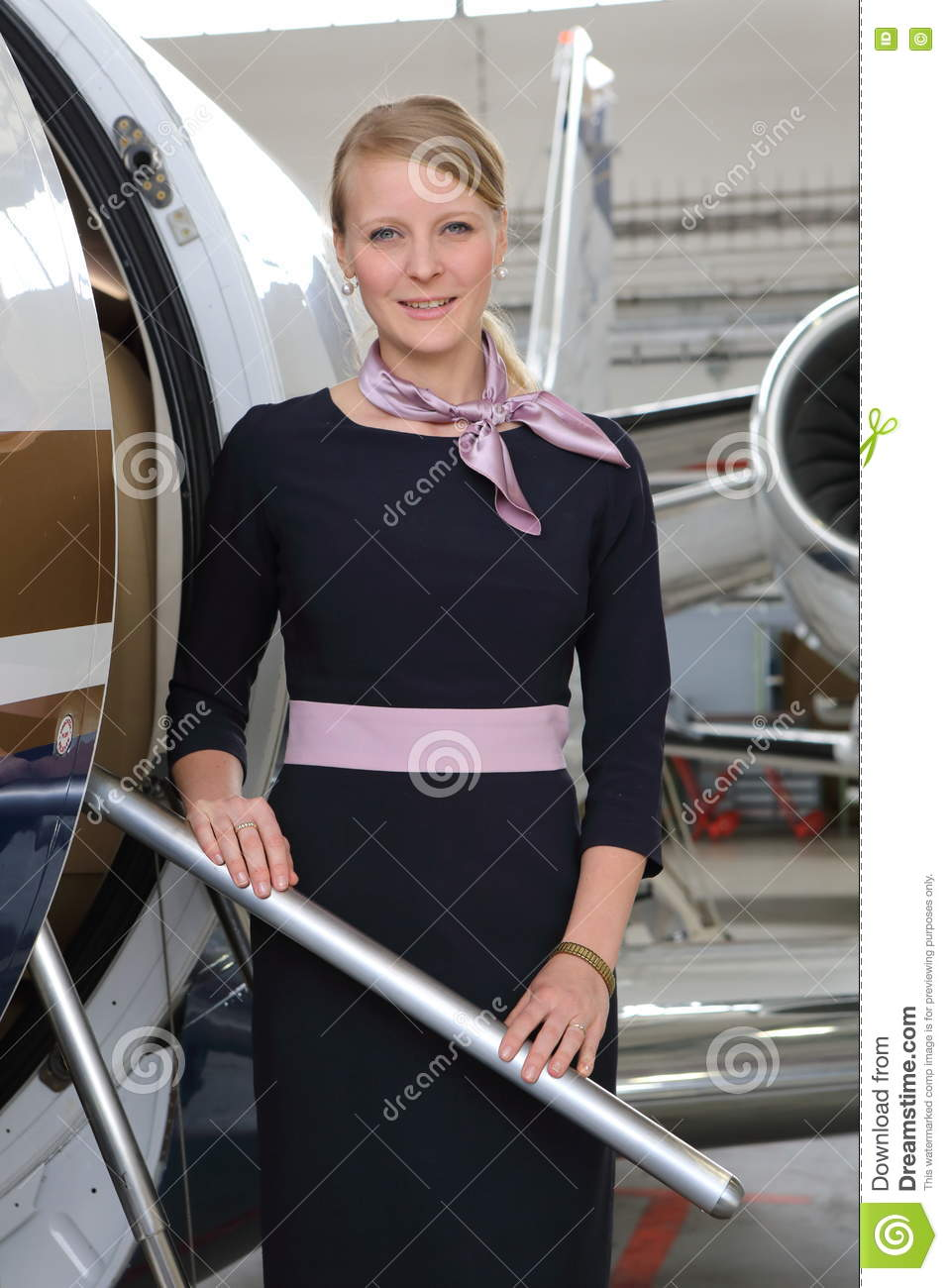 blonde flight attendant