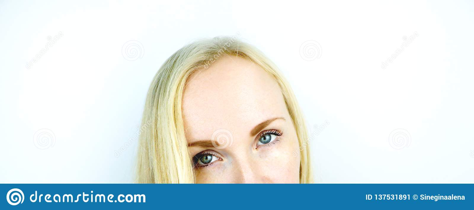 Green eyes of a beautiful girl. White background. Blonde freckles