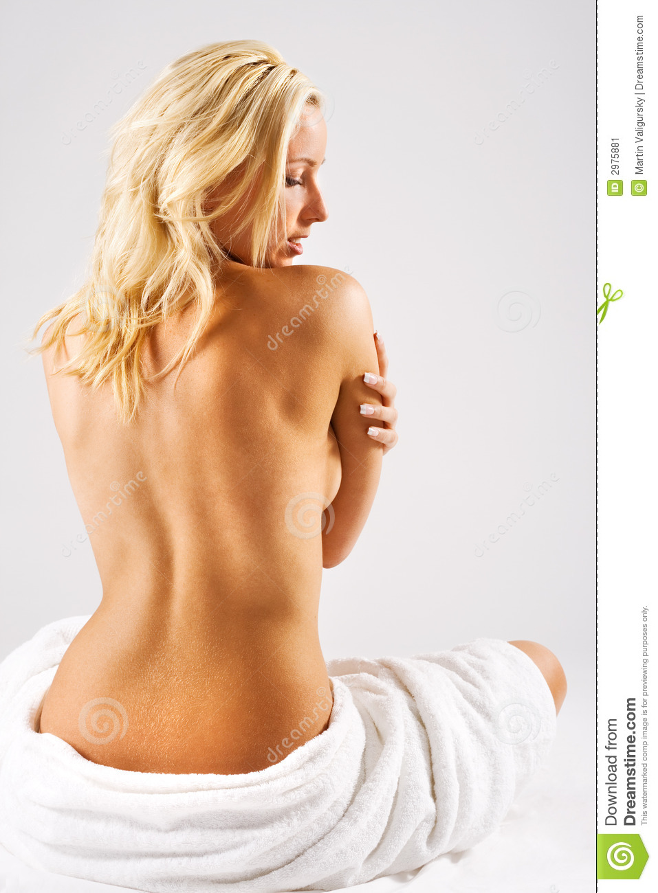 Blonde girl with bare back