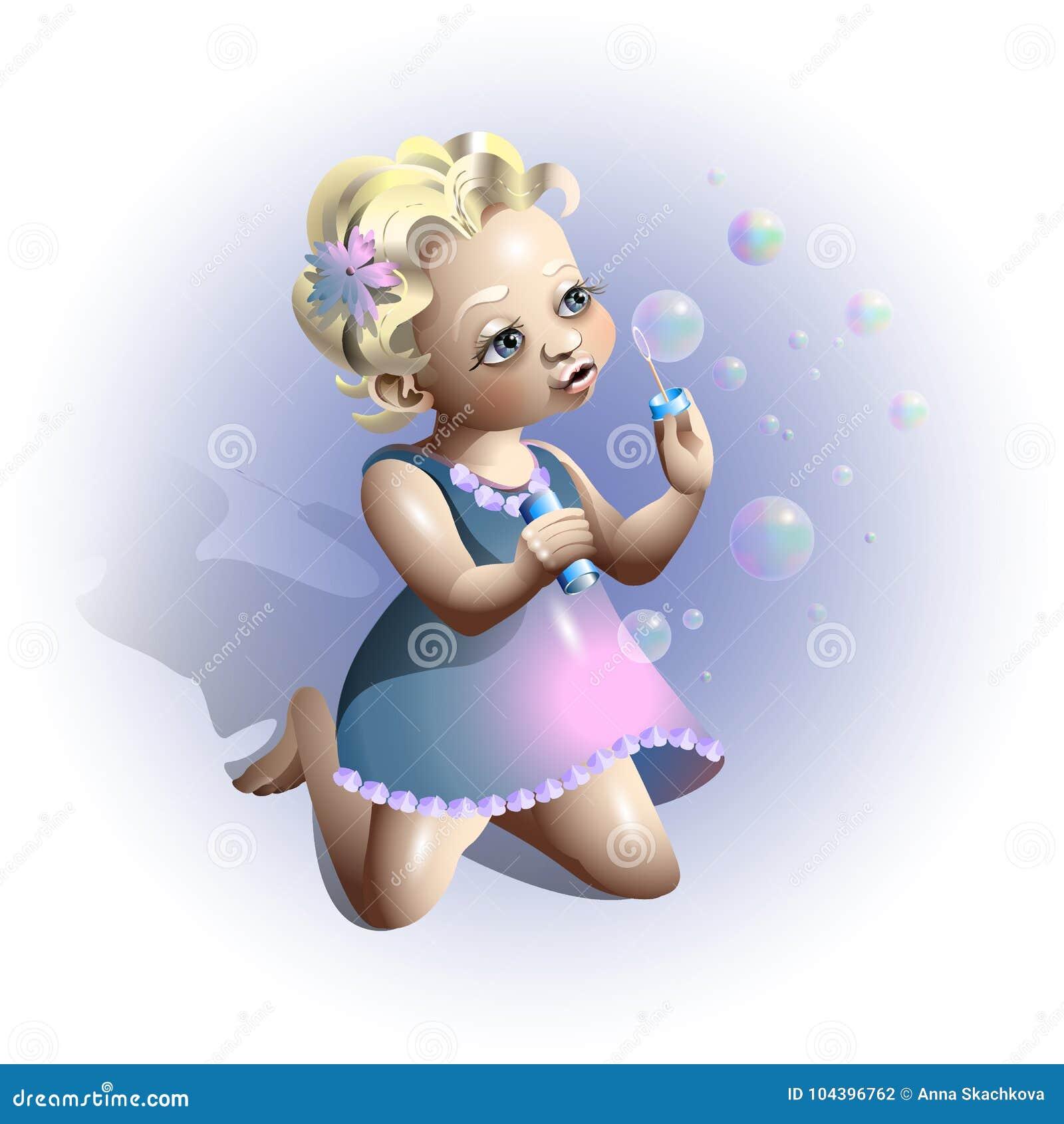 Blonde girl blowing soap bubbles