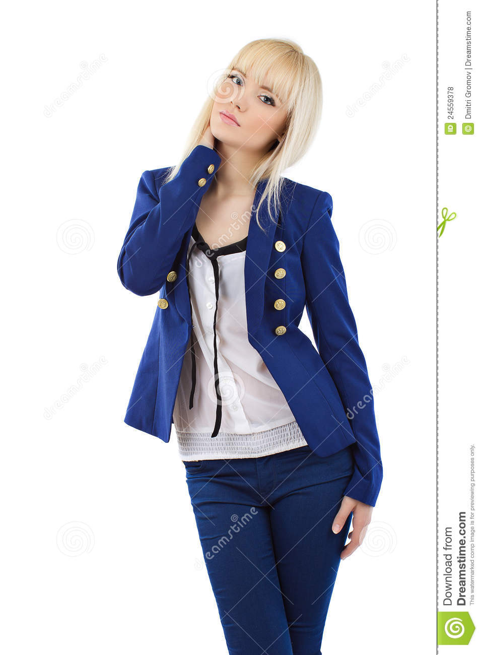 Blonde girl in blue pants and jacket