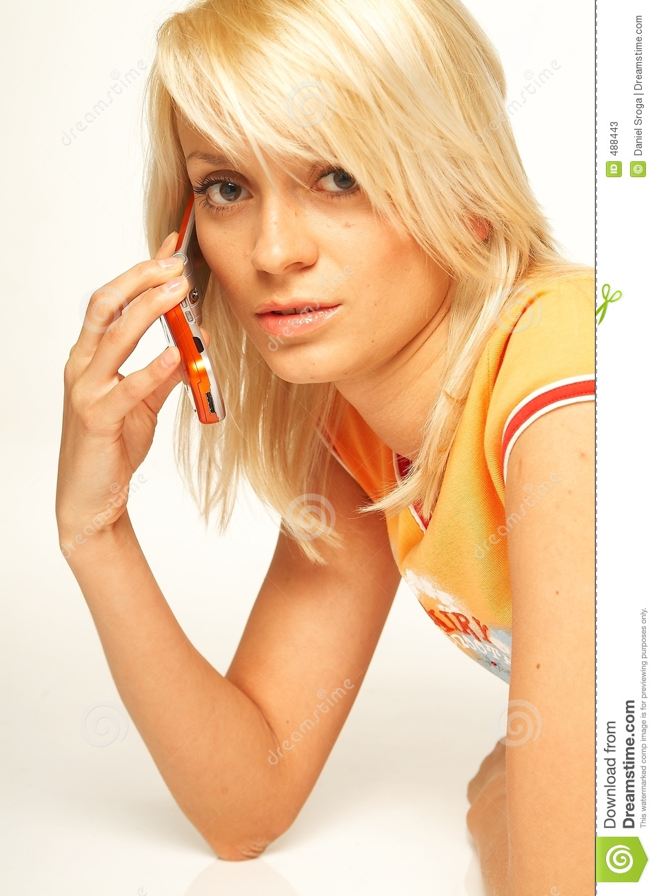 Brunette Woman Talking Mobile Phone Stock Photo - Image of
