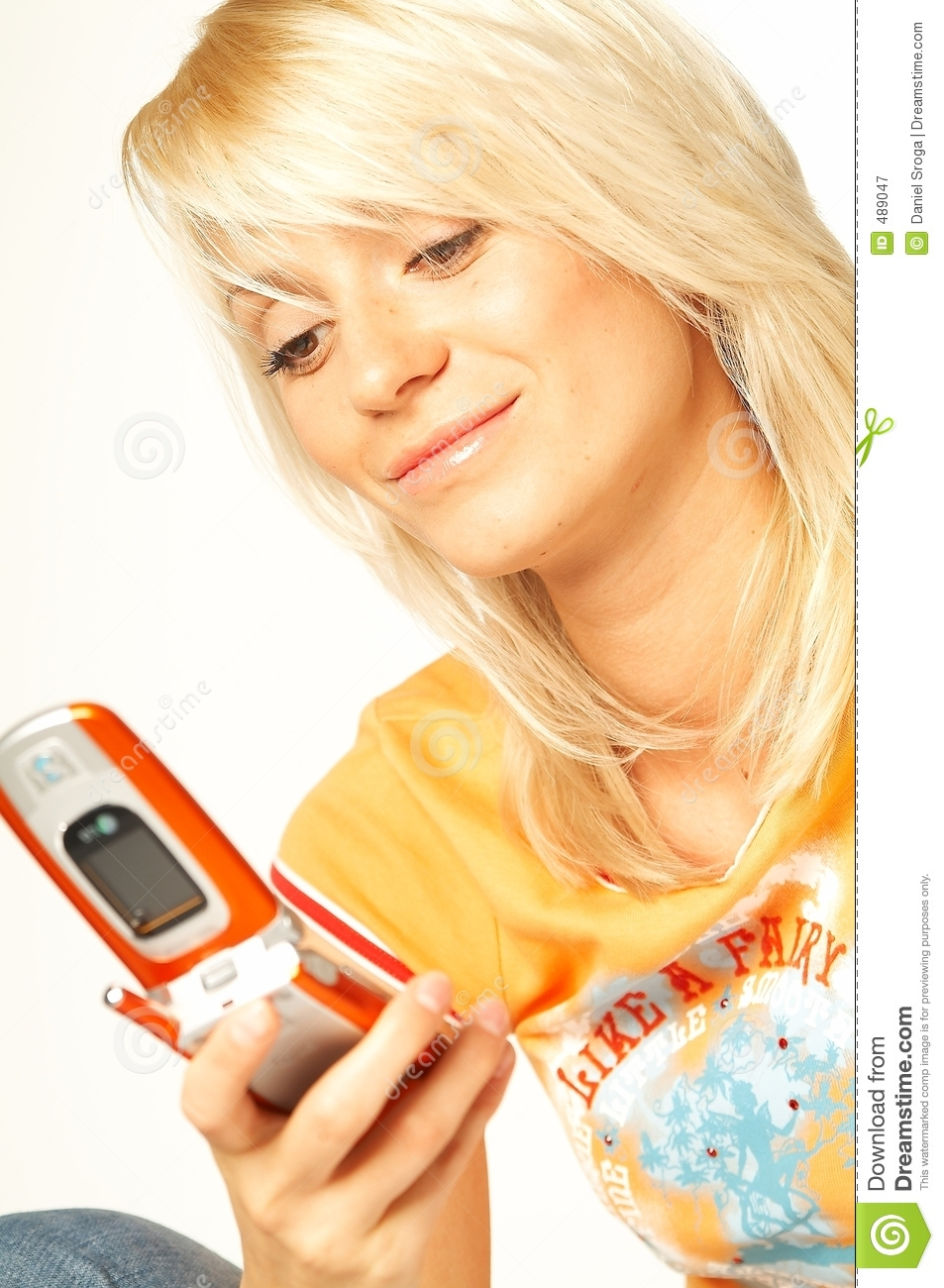 Blonde Girl With Cell Phone Stock Image - Image of phone