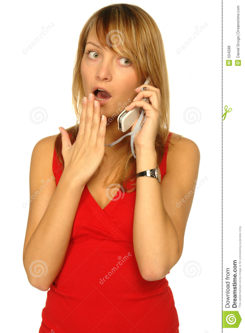 Blond Women Holding Cell Phone And Folder On White Stock