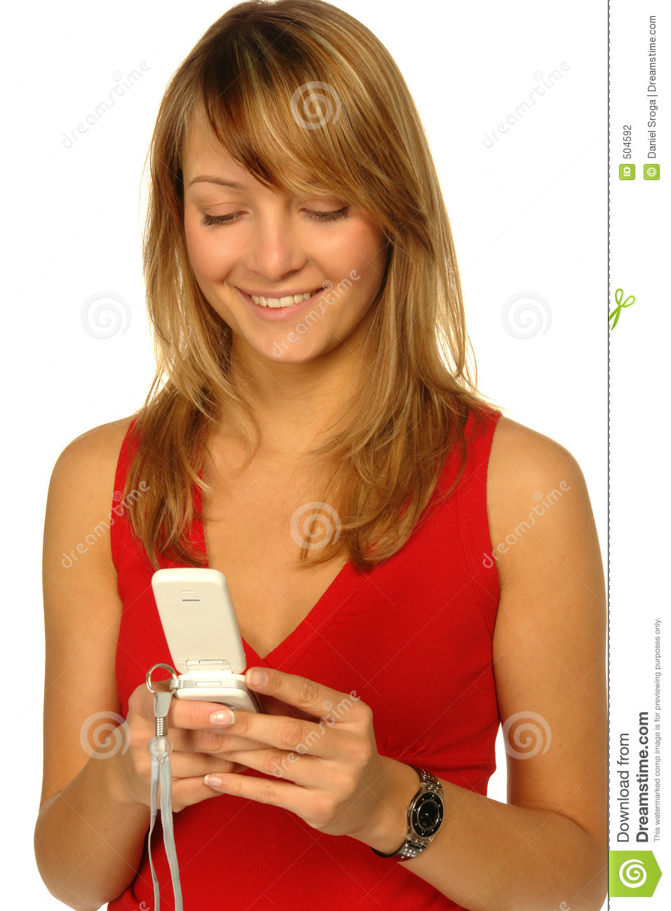 Blonde Girl With Cell Phone Stock Image - Image of eyes