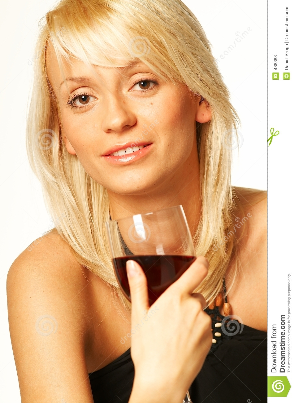 Blonde girl with glass of wine