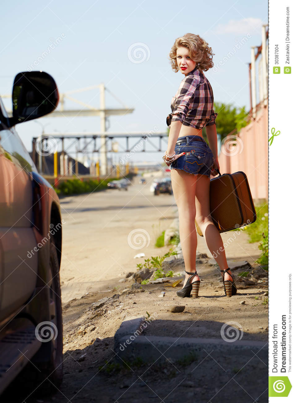 Blonde Girl Hitchhiker Stock Images Image 30387004