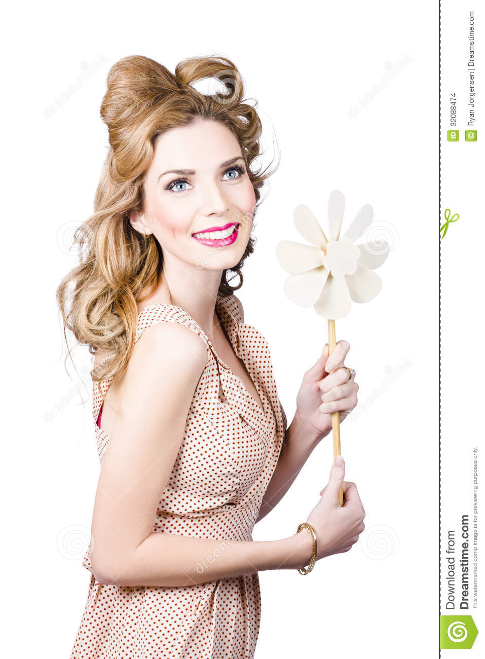 Blonde Girl Holding Windmill Fan. Natural Energy Stock Images - Image ...