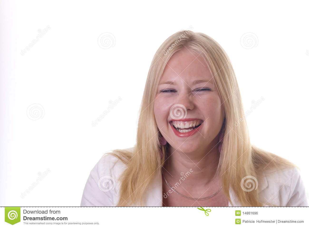 Blonde girl laughing out loud
