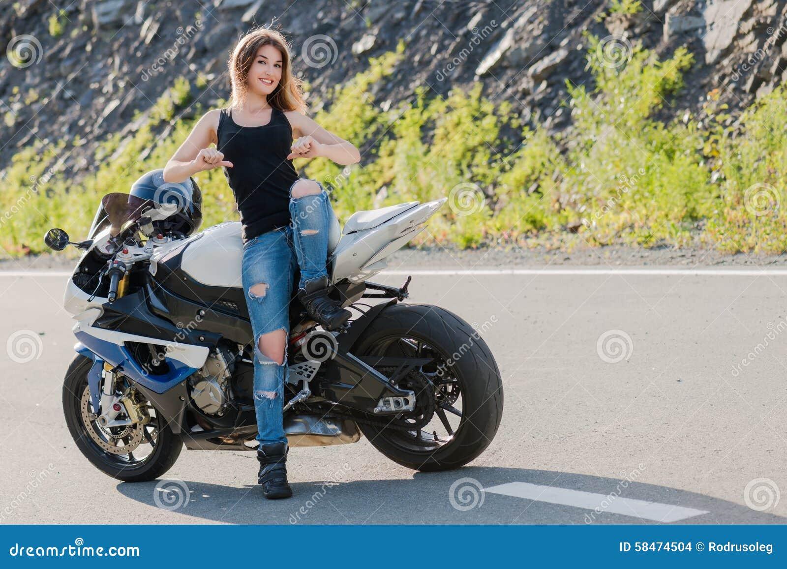 Blonde Girl Near Modern Motorcycle Stock Photo Image