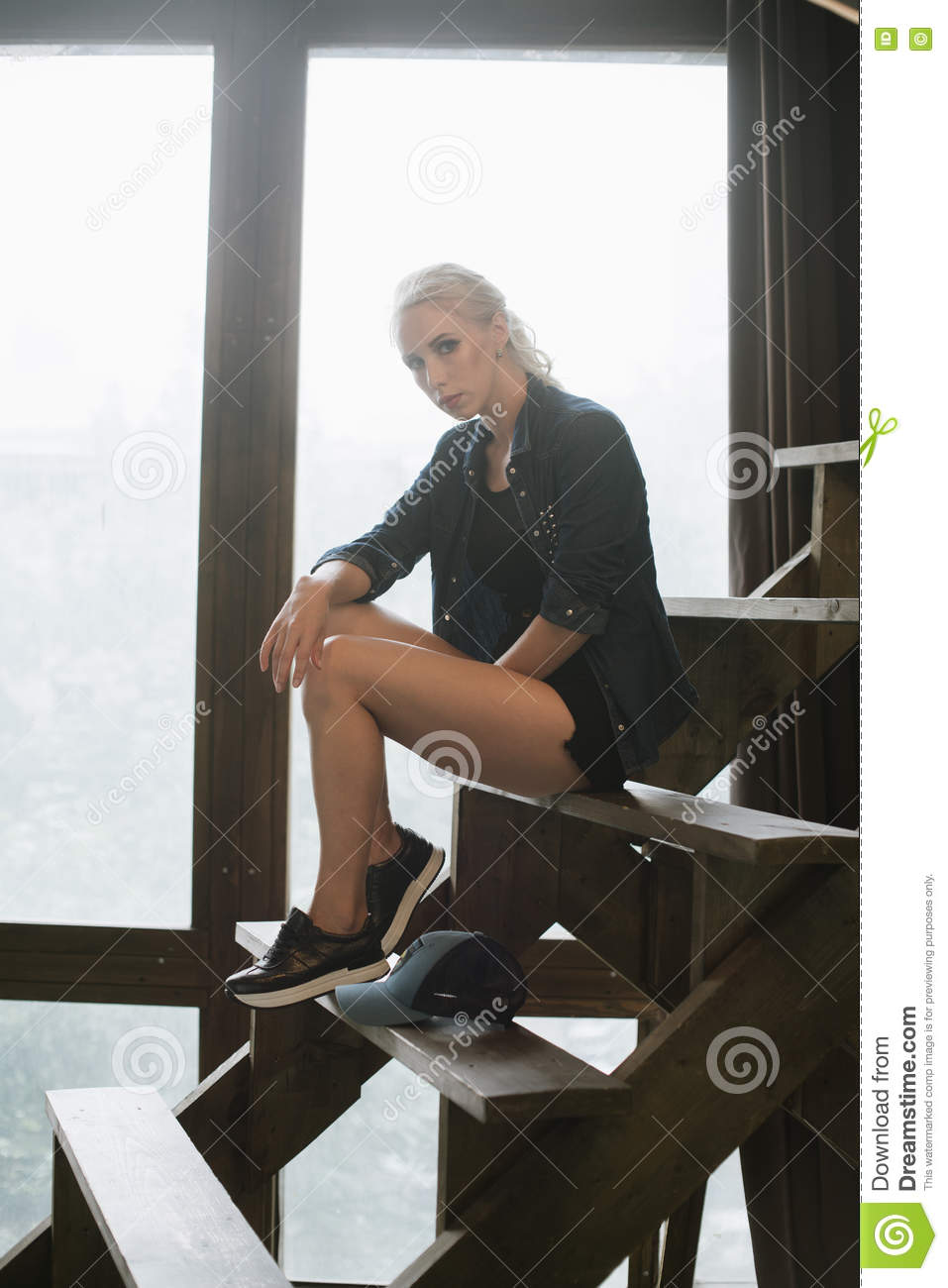 Blonde Girl Posing On The Stairs Stock Image Image Of Female