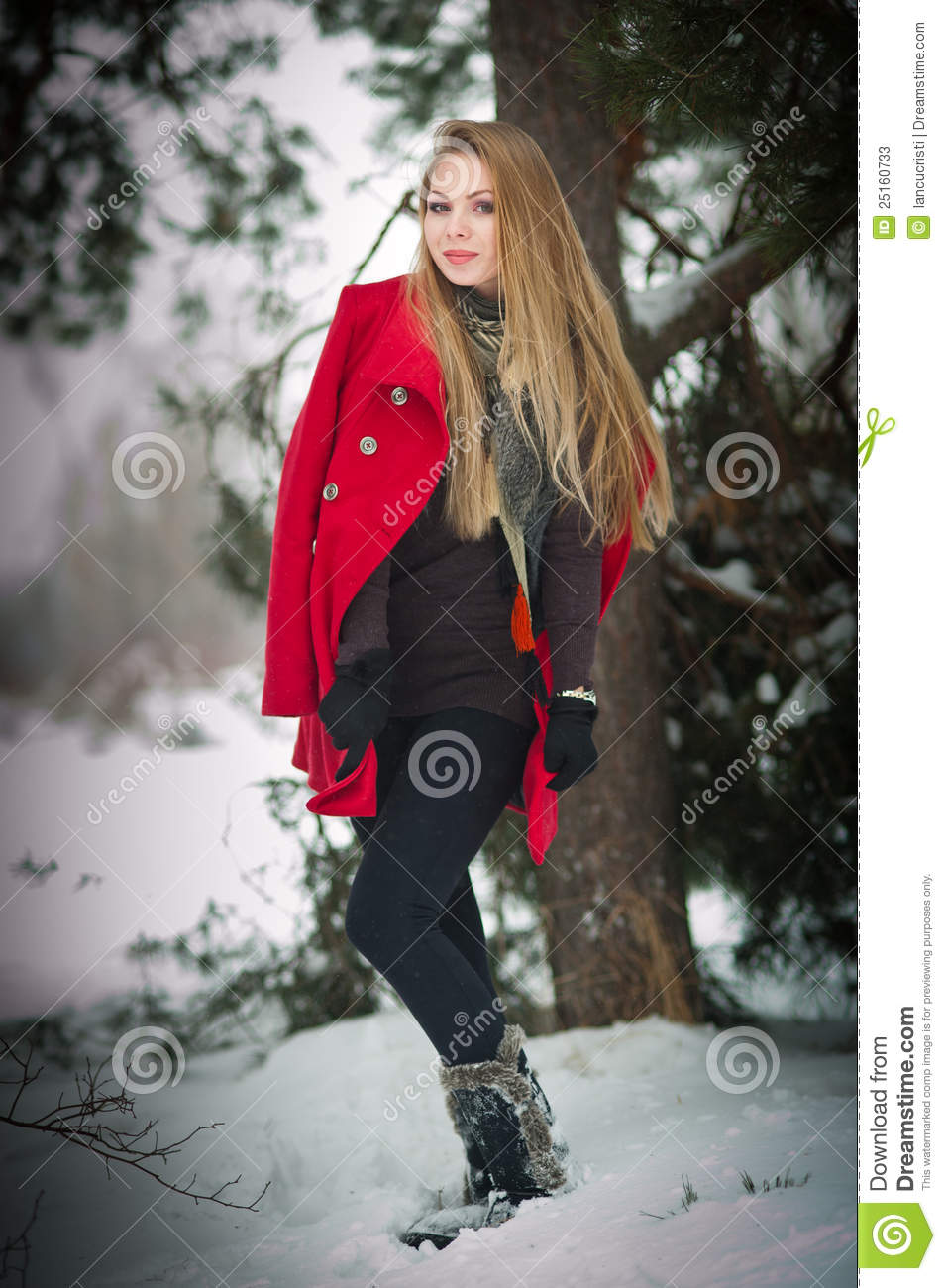 65471596b Blonde Girl With Red Coat In Winter Snow Stock Image - Image of girl ...