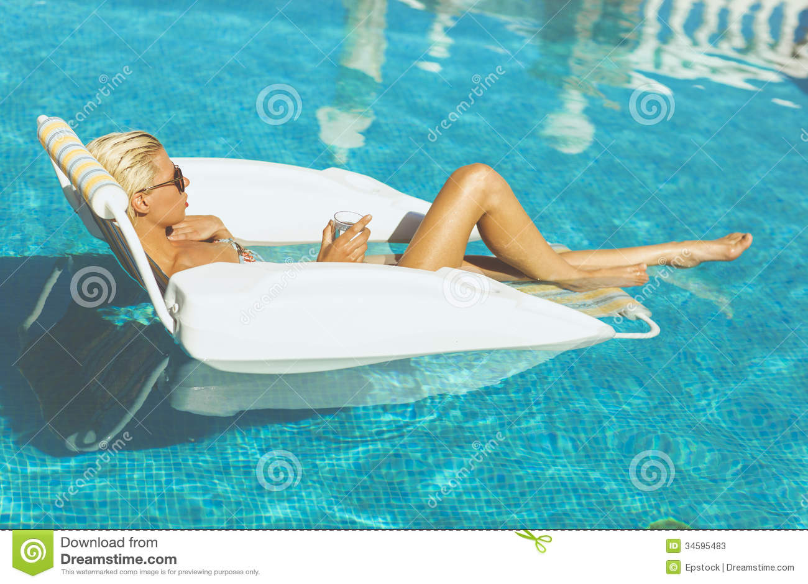 Hot Blonde In Pool
